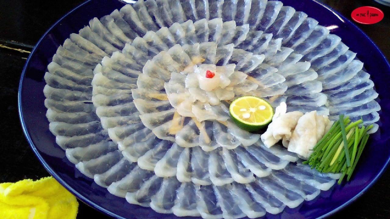 Kết quả hình ảnh cho Sashimi cá nóc (Fugu Sashimi)